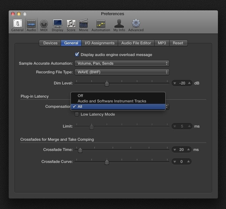Logic Pro PDC Settings